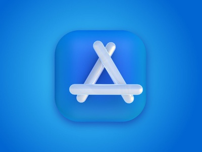 3D App Store Icon white icon blue icon 3d apple app store icon apple app store icon app iocn logo 3d icon cinema 4d 3d art 3d design