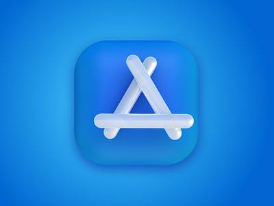 3D App Store Icon white icon blue icon 3d apple app store icon apple app store icon app iocn logo 3d icon cinema 4d 3d art 3d design