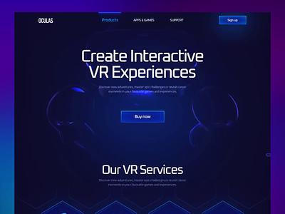 Conceptual Interactive VR Headset Landing Page Design oculas branding illustration typography motion graphics print product design design website design dark ui dark landing page interaction vr headset vr ar animation 3d ux