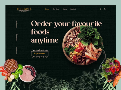 Food Delivery Landing Page (Restaurant Web) restaurant website landing page branding 3d graphic design animation web typography burger food design