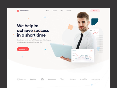 Digital Marketing Agency Landing Page web business agency popular typography ux ui design landing page seo header web page motion graphics animation