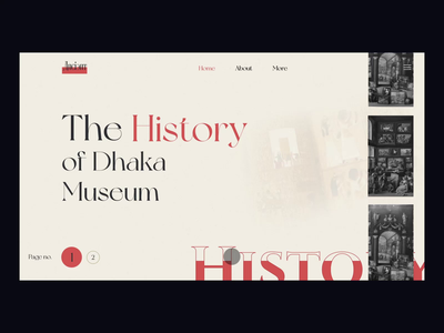 Museum Web Header (Concept Design) light version ui user interface design typography animation website design user experience museum ux ui design