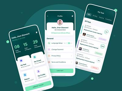 HR Task Manager - Mobile App Design web daily ui mobile app design app dark ui trendy minimal green task employee dashboard app project management app task management app hr mobile animation ui ux design