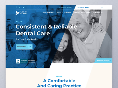 Dental Care Website Design home page website animation interaction design ui animation typography modern ui design figma dental care website motion graphics hospital dental website animation design ux ui