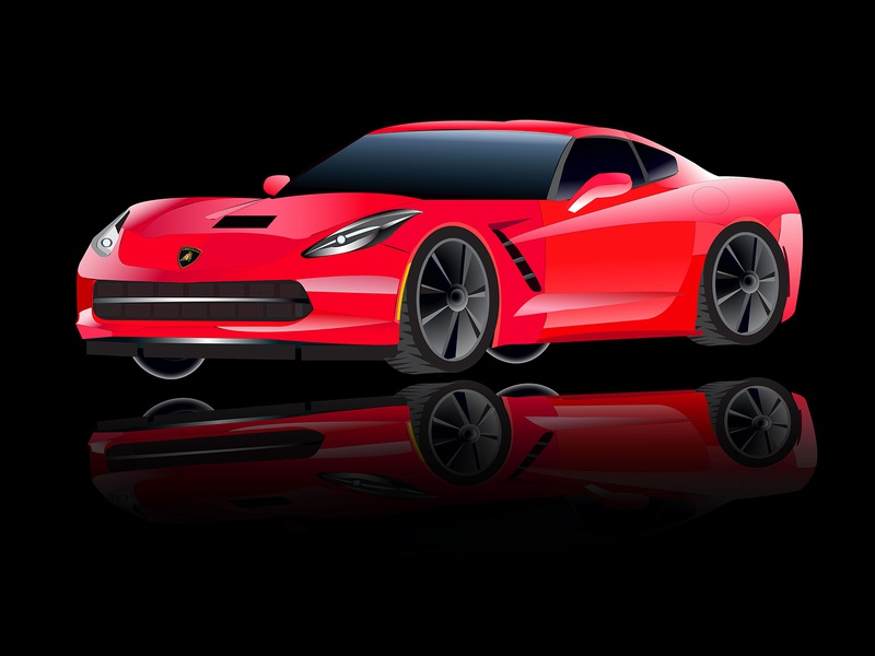 Car Illustration Practice (First time) car design practice red lamborghini logo design art illustration car