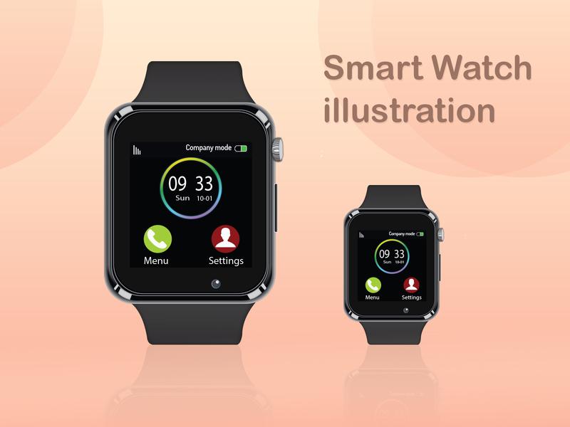 Smart Watch illustraiton (Practice V1) gadget smart app design illustration smart watch