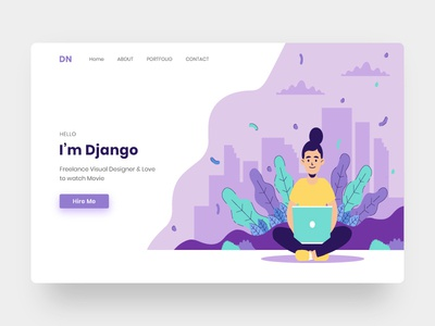 Portfolio website header illustration