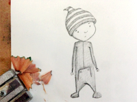 Boy in pajamas illustration