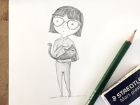 Girl and her cat illustration
