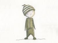 Boy in Pajamas color illustration