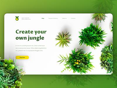 Plants online shop hero ui ux design landing page design landing page ui hero image ui design web web design