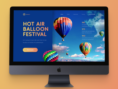 Baloons Festival Landing Page hot air balloon happy holidays festival balloons ui design landing page design landing page design web web design