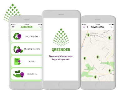 Greender   Eco Map App map ecology app design uiux ux design ui design app logo branding design ux ui