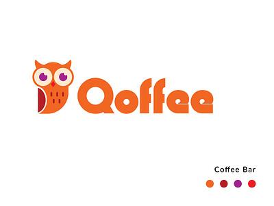 Qoffee Logo flat typography icon vector illustration art design branding logotype design logo design logotype logo 2d logo