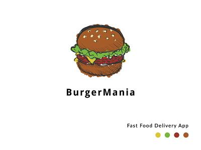 Burger Mania Logo logo design branding logo design on demand service on demand fastfood icon illustration design branding logo