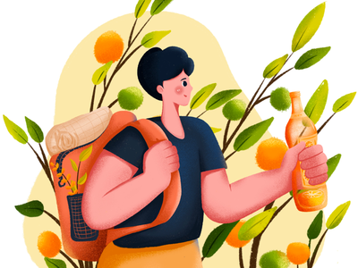 Oranges bag boy oranges illustration procreate