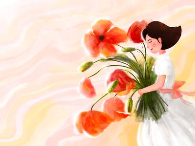 Flower sunshine girl flower illustration procreate