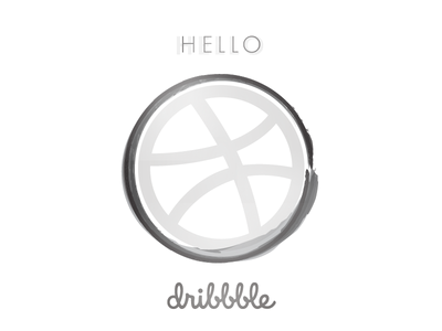 Hello Dribbble zendo simbol grayscale black and white minimal vector zen hello hello dribbble