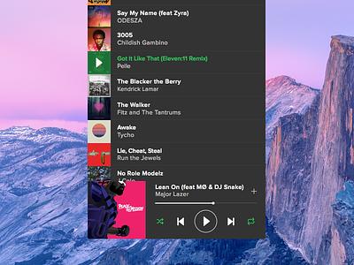 Sportify Mini Player mac ux ui interface concept osx player music spotify app