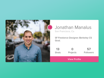 Dribbble Profile Card element widget shots profile stats about ui dribbble card player