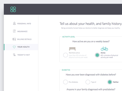 [WIP] Doctors Office - New Patient Signup  sign up onboarding sign up form web form application signup ui doctor health app