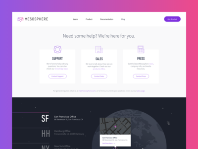 Mesosphere Contact Page map landing san francisco gradient globe space contact website mesosphere
