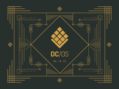 Mesosphere DC/OS Launch Party champagne illustration mesosphere party launch gold deco art deco card print