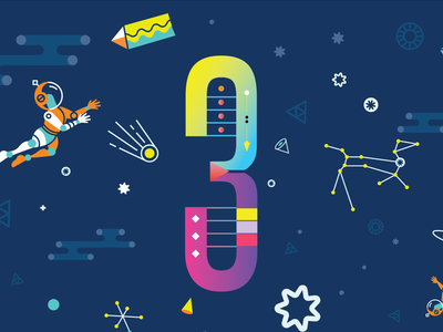 Mesosphere 3 Year Anniversary Slide astronaut anniversary stars landing mesosphere space type illustration