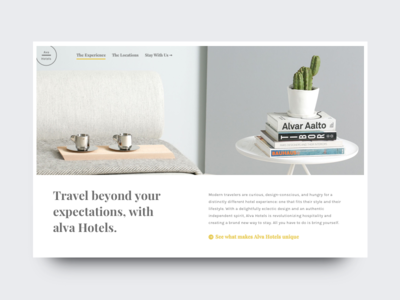 Luxury Hotel - Potential Hero Layout landing site luxery hotel card typography type portfolio minimal grid editorial clean
