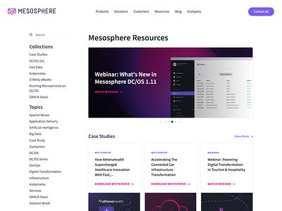 Mesosphere Resources Homepage Redesign enterprise mesosphere landing free web tool developer ui site blog resources