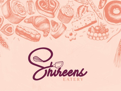 Shireens Eatery flat minimal logo design vector typography illustration branding logo design