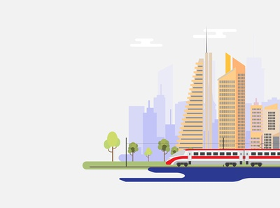 Train and city. Travel by train concept background.