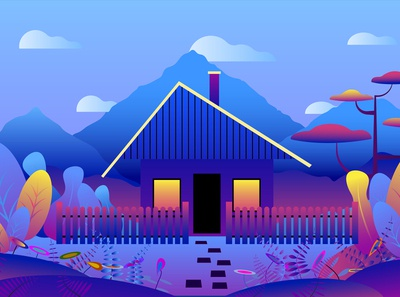 Country landscape-hut