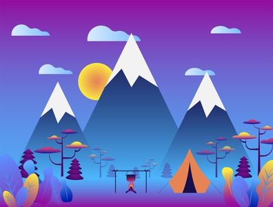 Flat vector illustration. Vacation and nature vacations concept.