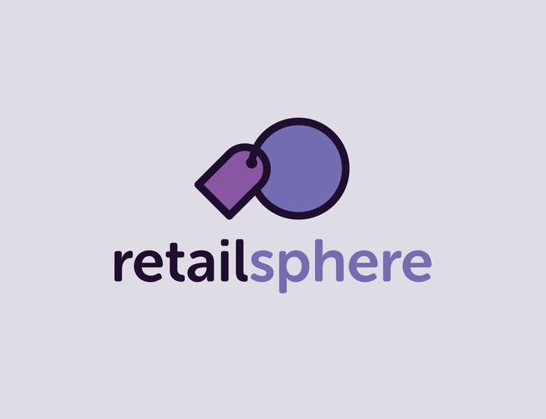Retailsphere Name & Branding naming tag sphere brand identity purple retail icon logo branding