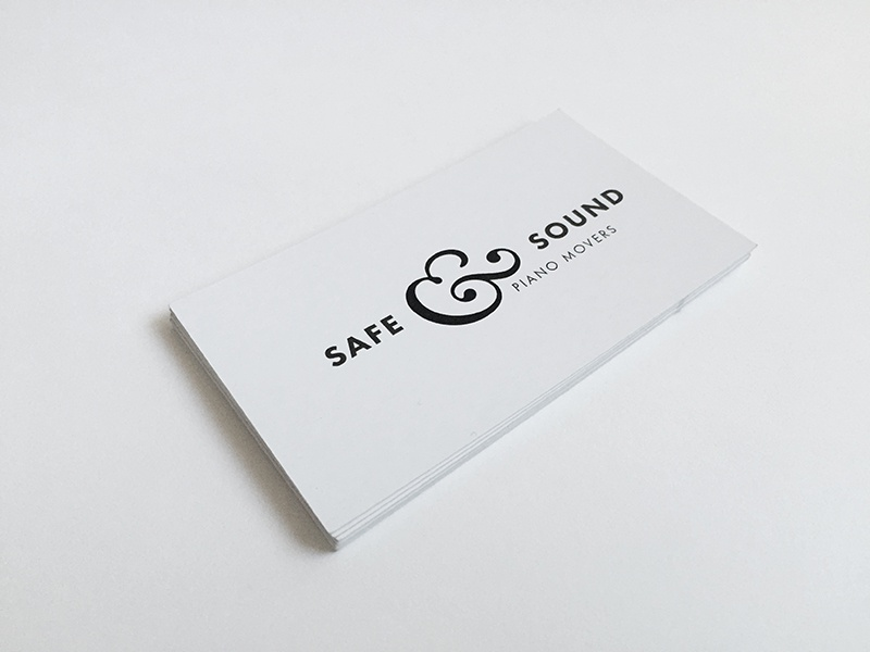 Safe & Sound safe  sound business cards minimal clean white piano