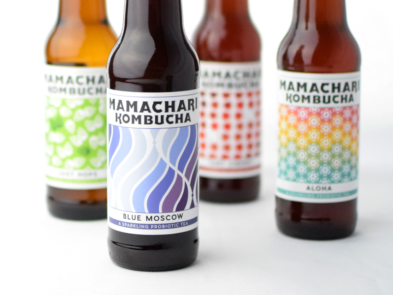 Mamachari Kombucha Labels pattern glass bottle packaging label kombucha