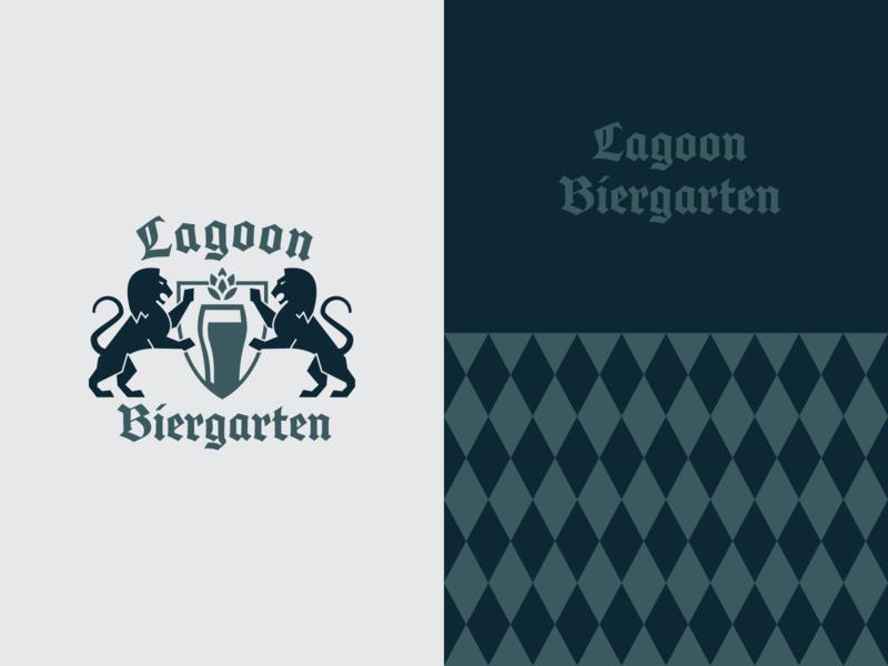 Biergarten Brand typogaphy restaraunt lion beer design pattern logo branding