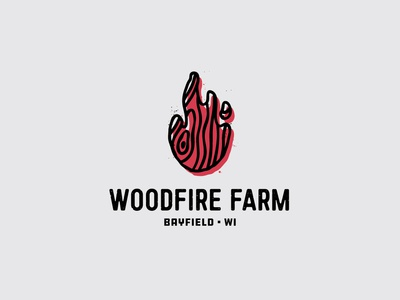 Woodfire Farm Logo wisconsin fire flame wood logo farm branding