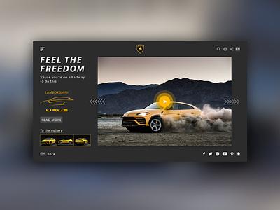 Lamborghini URUS Page Concept website flat web ux ui design