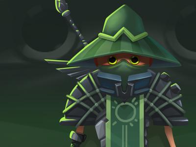 Green warior person