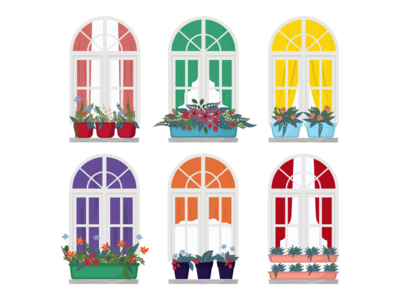 A set of windows with flowers in pots.