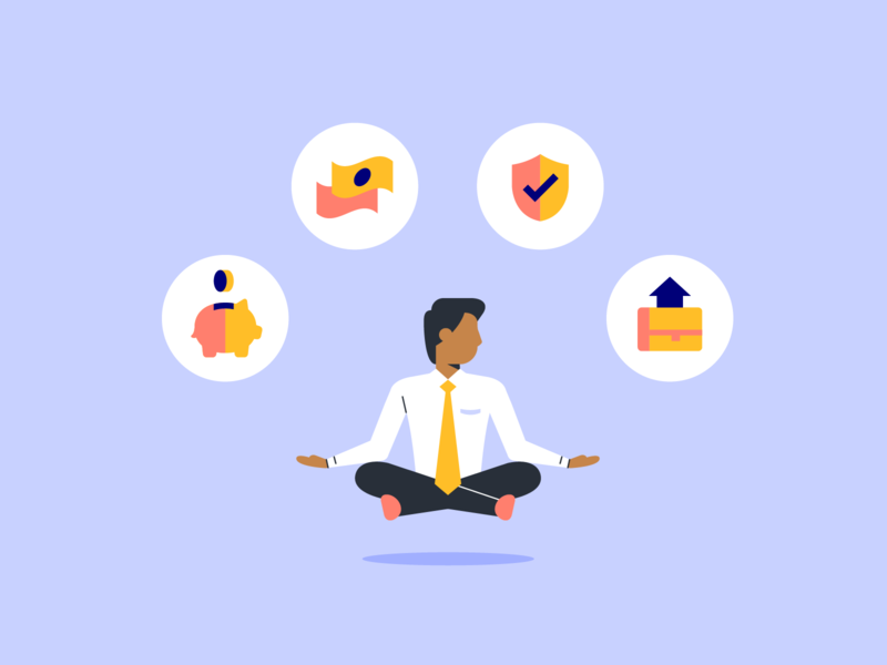 Retaining employees with benefits business man icons benefits illustration