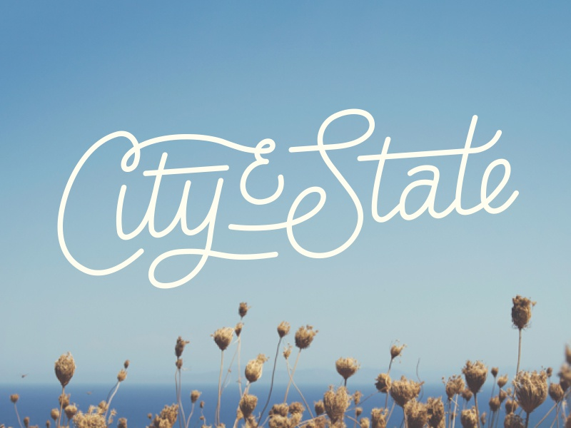 City & State lettering city state california design