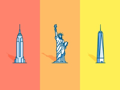 NYC icons empire state building statue of liberty freedom tower ny new york city icons illustration new york nyc