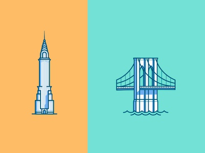NYC brooklyn bridge chrysler building landmarks illustration icons nyc ny new york