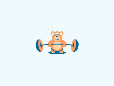 Ted E. Buff bear teddy weightlifting illustration