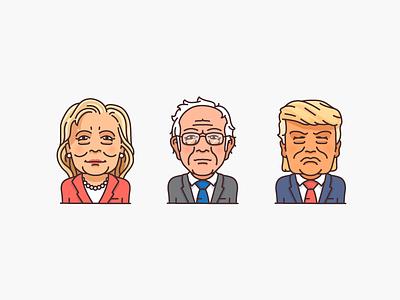 Politicians donald trump trump bernie sanders bernie hillary clinton hillary character icon illustration