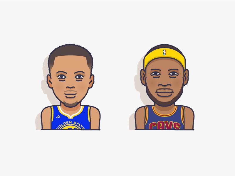 NBA finals lebron james steph curry steph lebron basketball nba icons illustration