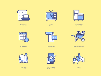 Lugg icons relax delivery map garden waste appliances junk bedding illustration lugg icons